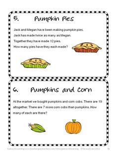 Thanksgiving math brain teasers from Thanksgiving Math Games, Puzzles and Brain Teasers. $ Enjoy! Happy Thanksgiving!