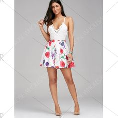Sleeveless Criss Cross Backless Floral Romper - S Mobile
