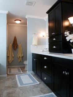 chic black bathroom cabinet