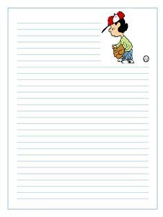 Imprimir gratis papel infantil para niños para escribir cartas de Lucy