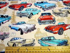 Get Your Kicks on Route 66 Vintage Cars Tossed on Tan by Dan Morris for RJR Fabrics. $8.95, via Etsy.