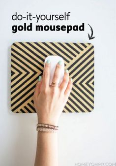 Spice up your desk with a DIY gold chevron mousepad.