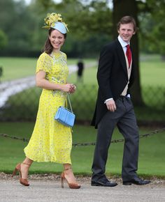 Guests arrive ahead of the wedding of the Duchess of Cambridge's sister Pippa Middleton to her millionaire groom James Matthews dubbed the society. Pippa Middleton Style, Pippa Middleton Wedding, Pippas Wedding, Wedding Of The Year, Wedding Hats, Royal Fashion, Star Fashion, Event Dresses, Nice Dresses
