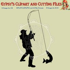 Fishing Clipart, Fishing Cutting File, Fisherman Clipart, Outdoor, camping png, svg,ai,eps, dxf by gypsysclipart. Explore more products on http://gypsysclipart.etsy.com