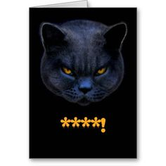 #CrossCat says ****! Greeting Card - Well really Cross Cat, that's not funny! #cats #funnycats