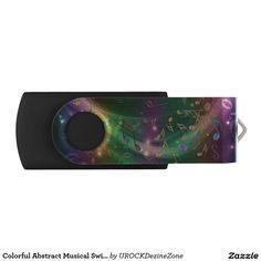 Colorful Abstract Musical Swirl USB Flash Drive Swivel USB 2.0  Flash Drive  #music