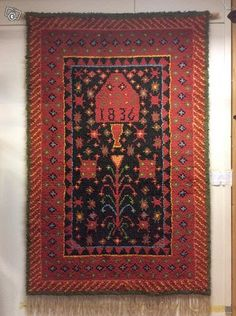 Huittisten ryijy malli vuodelta 1836 Wool Rug, Bohemian Rug, Rugs, Interior, Handmade, Design, Museum, Eggs, Farmhouse Rugs