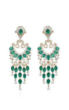 Farah Khan Zambian Emerald Chandelier Earrings by Farah Khan Fine Jewelry for Preorder on Moda Operandi