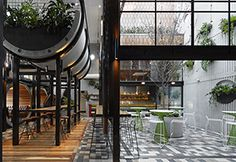 Prahran Hotel in Melbourne, Australia - Greenery softens the otherwise raw material palette, including the unpainted concrete pipes, a corrugated precast concrete wall, exposed steel frames, and gray-toned ceramic tile floors that extend from the pub's interior to the courtyard.