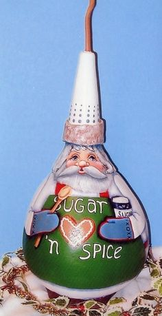 gourds painted like indians   gourd baker santa; design from a book by Deborha Kerr; Lola Stude