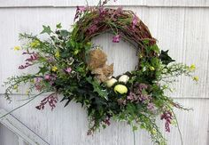 Woodland Wreath Floral Squirrel Bird's Nest & by MrFilthyRotten Diy Wreath, Door Wreaths, Grapevine Wreath, Wreath Ideas, Spring Birds, Spring Door, Spring Summer, Summer Wreath, Spring Wreaths