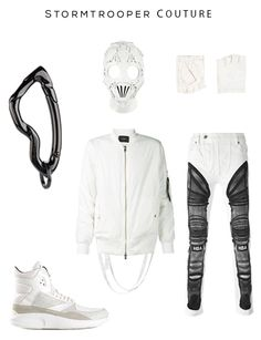 Stormtrooper Couture Clockwise: Arcus carabiner keychain by SVORN, Leather Mask by Givency, Gloves by JOHN VARVATOS, X-ray print jeans by HOOD BY AIR, 'Strapped' bomber jacket by STAMPD, Hi-top Sneakers by ARTICLE NO.