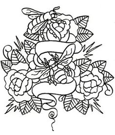 honey bee tattoo... would like this with my guy's names on the scroll