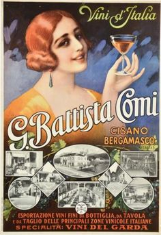 Original-Vintage-Italian-Wine-Advertising-Poster-G-Battista-Comi-Italy