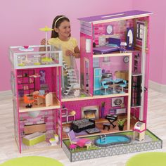 KidKraft Uptown Dollhouse with Furniture - Toy Dollhouses at Hayneedle