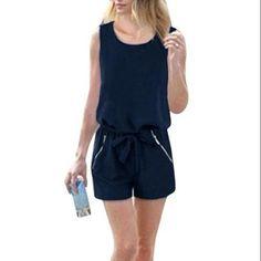 Women Zip Up Fake Pocket Decor w Waist String Navy Blue Jumpsuit M