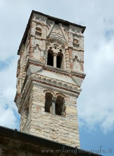 Upper part of the bell tower of the church of Santa Maria Maddalena in Ossuccio (Lake Como, Italy)