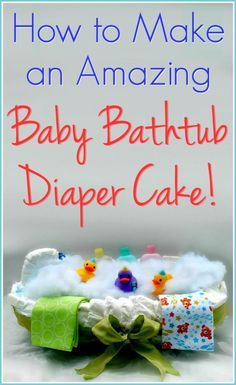 How to Make a Baby Bathtub Diaper Cake! Love unique baby shower ideas, and this one is a showstopper! This unique baby shower gift tutorial tells you everything you need to make your own special diaper cake. Diaper Cakes Tutorial, Cake Tutorial, Diy Tutorial, Photo Tutorial, Unique Diaper Cakes, Nappy Cakes, Shower Bebe, Unique Baby Shower Gifts, Baby Shower Diapers