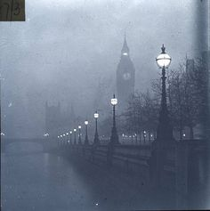 Big Ben and The Embankment 1920  glass plate photography London & Middlesex Archaeological Society Glass Slide Collection