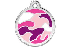Red Dingo Enamel Camouflage Pink Pet ID tag!