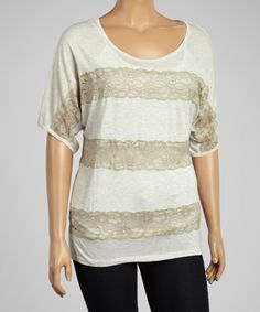 Another great find on #zulily! Dantelle Oatmeal Lace Stripe Dolman Tee - Plus by Dantelle #zulilyfinds