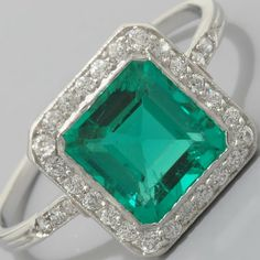 Art Deco Emerald Ring Platinum