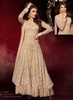 3f5c8591fca Priyanka Chopra Beige Net Layered Anarkali Suit Pakistani Lehenga