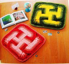 Rugs oriental: free crochet pattern ~ make handmade - handmade - handicraft Crochet Square Blanket, Crochet Blanket Patterns, Crochet Granny, Baby Blanket Crochet, Crochet Baby, Crochet Chart, Diy Crochet, Crochet Bedspread, Knitted Flowers