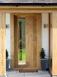 Screen in porch diy the doors ideas for 2019 Contemporary Front Doors, Modern Front Door, Modern Porch, Front Door Porch, Screened In Porch, Front Porches, Front Windows, Porch Uk, Oak Front Door