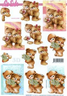 Decoupage Printables, Printable Crafts, Art Deco Cards, 3d Sheets, 3d Paper Crafts, Tatty Teddy, 3d Cards, Get Well Cards, Card Patterns