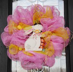 Deco Mesh Easter Wreath with Metal Easter Bunny by MaceeKayDesigns, $65.00