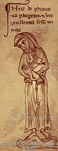Franciscan - from drawing by Matthew Paris / Franciscan - from drawing by Matthew Paris. Member of Roman Catholic religious order founded by Saint Francis of Assisi. MP: Benedictine monk, English chronicler, artist in  illuminated manuscripts and cartographer, c. 1200 - 1259.