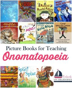 Onomatopoeia is so much fun to teach! These picture books and free printable will make your lessons more fun!   embarkonthejourney.com