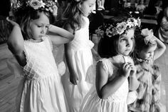 Sweet flower girls, waiting for ceremony to begin.