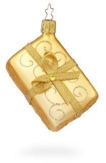 Inge's Christmas Decor Big Golden Gift Ornament