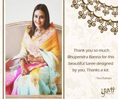 Tina Rathore Baisa, much appreciate your love for our Sarees. We look forward to offering even better. Thank you for your appreciation. For this kind gesture, we offer you a flat 5% discount on any purchase from Yuvti within 6 months. #Yuvti #rajasthaniposhak #compliment #review #thankyou #testimonial