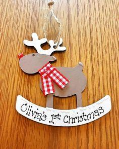 Personalised Cute Reindeer Tree Decoration Babies 1st