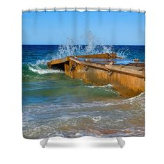 Colorful Waves around Old Pier Shower Curtain