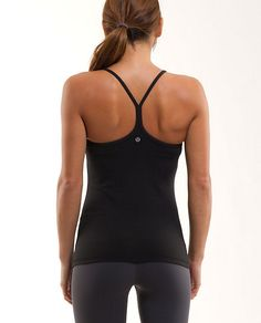 Lululemon Power Y Tank.  All day. Er'y day.     fabrics: luon®, COOLMAX®  properties: chafe-resistant, preshrunk, four-way stretch, breathable, moisture wicking  shelf bra: y