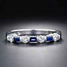 Tiffany & Co. Sapphire And Diamond Wedding Band - 110-1-4001 - Lang Antiques