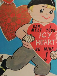 "633 Vintage Valentine Card Ice Skating Boy "" Can I Melt Your Icy Heart Unused 