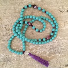 Turquoise mala beads with purple tassel. 108 by LindsayRaeDesigns
