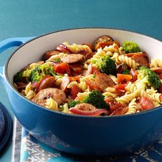 Pasta & Broccoli Sausage Simmer Recipe -I created this meal when trying to use up a large head of broccoli. My family requests it at least once a week, which is handy because we always have the ingredients. —Lisa Montgomery, Elmira, Ontario
