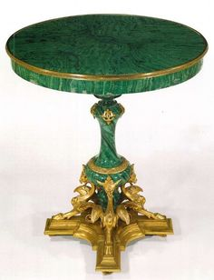 Malachite Pedestal Table - Russia, century Malachite may be my favorite stone. We had a large malachite center table in the shop until it sold. Just miraculous. Furniture Styles, Home Furniture, Furniture Design, Empire Furniture, Grand Homes, Empire Style, Art Decor, Home Decor, Pedestal