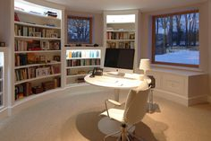 Circular home office and library - view 1