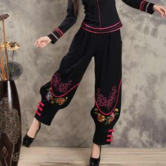 Womens Vintage Embroidery Floral Harem Pants Loose Bloomers Trousers Slacks New in Clothing, Shoes & Accessories, Women's Clothing, Pants Fashion Pants, Fashion Outfits, Womens Fashion, New Fashion, Character Outfits, Costume Design, Aesthetic Clothes, Pants For Women, Autumn Fashion