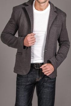 t-shirt and blue jeans with nice blazer