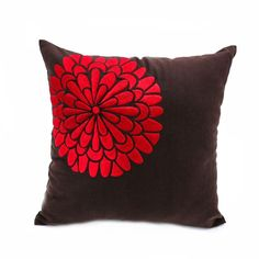 Red Floral Decorative Pillow Cover, Dark Brown Linen Red Flower Embroidery, Modern Contemporary home pillow, Brown Red Cushion, Couch Pillow Orange Pillow Covers, Orange Pillows, Floral Pillows, Linen Pillows, Throw Pillow Covers, Throw Pillows, Linen Fabric, Rustic Decorative Pillows, Decorative Pillow Covers