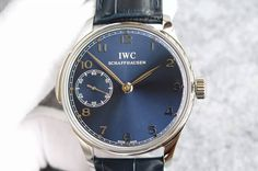 IWC Portuguese SS IW5242 YLF Blue Dial on Blue Leather Strap A95290
