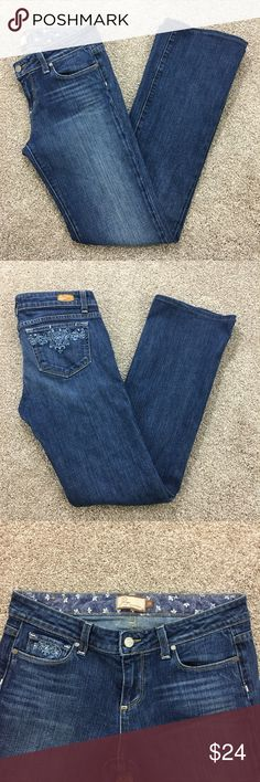 """PAIGE Jeans PAIGE Benedict Canyon Jeans with embellished pockets, size 29. **Notice: these jeans have been hemmed and the inseam is 32"""". PAIGE Jeans"""